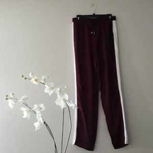 Mustard Seed Button Snap Wine Cream Track Pants